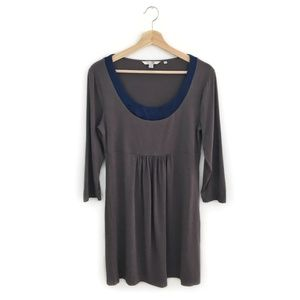 Boden Easy Scoop Tunic Dress Grey with Blue Satin